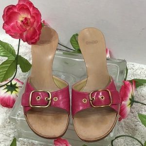 Coach pink leather wedge sandals